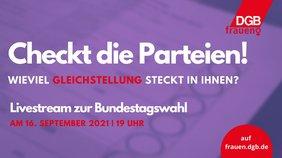 Wahlzettel im Hintergrund, darauf der Titel der Veranstaltung