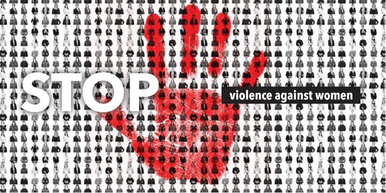 Stop violence against women_Titel mit roter Hand