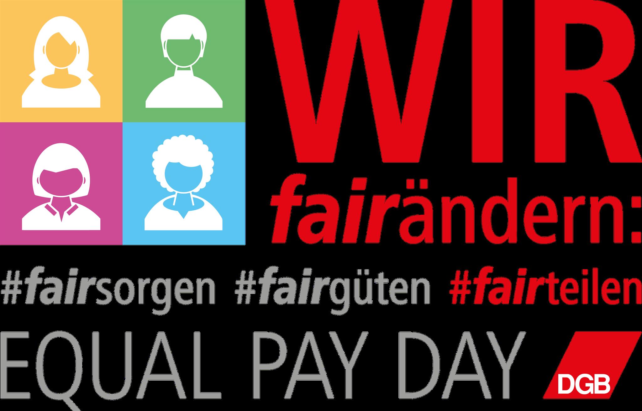 """DGB-Logo zum EPD 2020: Logo """"wir #fairteilen"""", zusammen mit #fairsorgen (Equal Care Day, 29.02.) und #fairgüten (Internationaler Frauentag, 08.03.) wird eine Klammer um den gesamten Frauenmonat März gesetzt."""