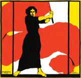 Frau schwenkt rotes Banner