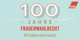 Frauentags-Logo 2018: 100 Jahre Frauenwahlrecht - Wir haben viel erreicht!